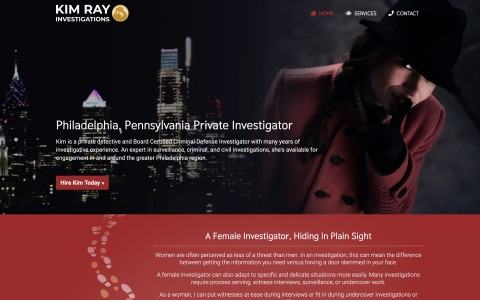 Website Design for Kim Ray Investigations