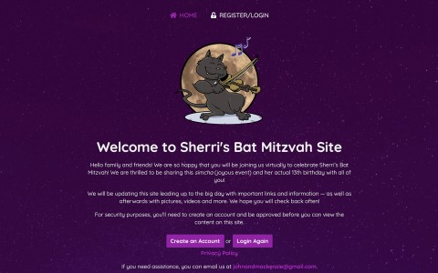 Website Design for Sherri's Bat Mitzvah